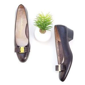 Salvatore Ferragamo Vara Pumps Brown Croc Heels